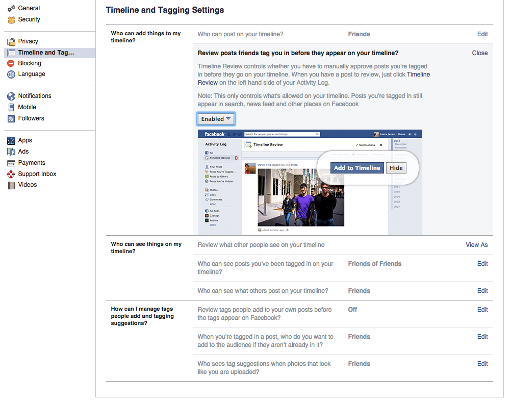 Review tags on Facebook - Sourced