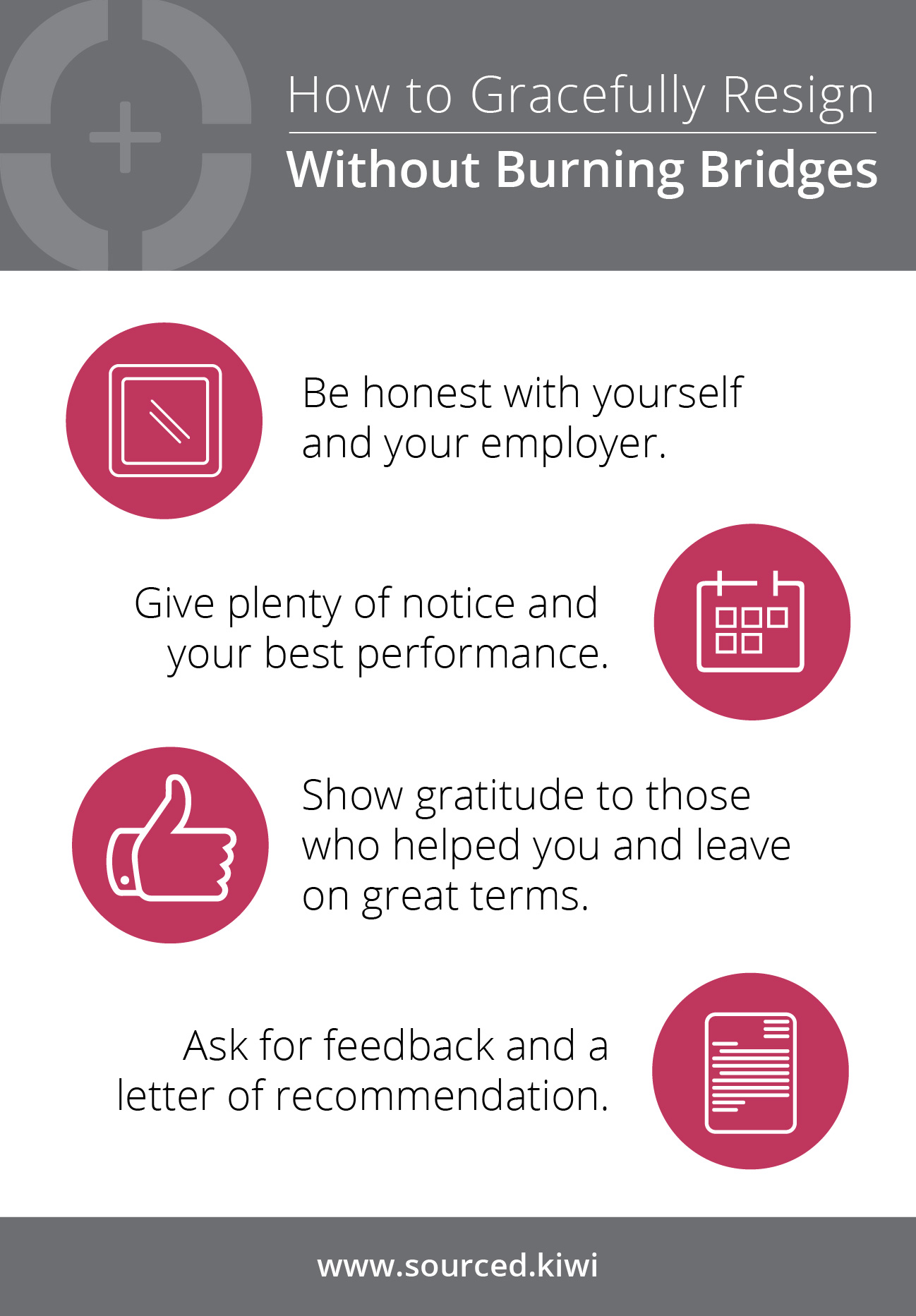 Infographic on How to Resign Gracefully | Sourced - Christchurch IT Recruitment